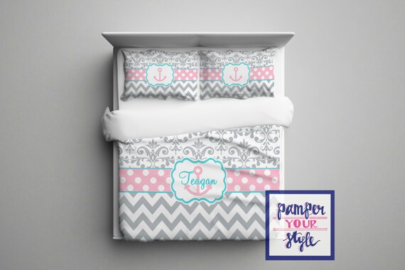 Gray Pink And Aqua Anchor Bedroom Decor Anchor Monogrammed