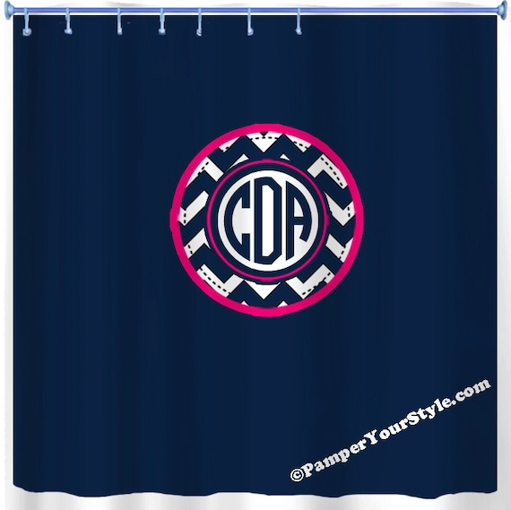 Navy And Hot Pink Shower Curtain Monogrammed