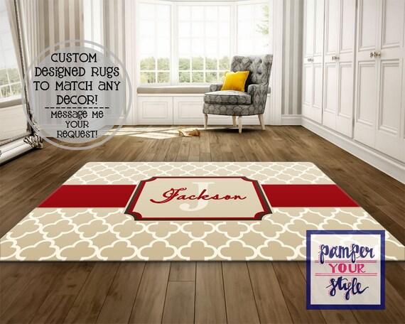 Tapis rouge et beige, Beige et beige vivant chambre tapis, tapis  personnalisé, tapis monogrammé
