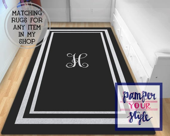 Black And Gray Monogrammed Area Rug Personalized Black Rug Etsy