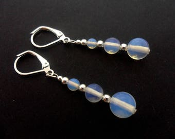 A pair of pretty opalite  bead silver plated dangly leverback hook earrings.
