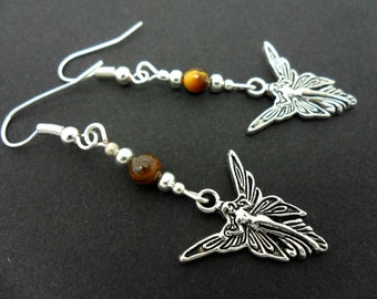 A pair of cute little hand made tibetan silver dangly tigers eye bead fairy angel  themed earrings. new.