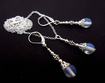 A hand made opalite bead  necklace and  leverback hook earring set.