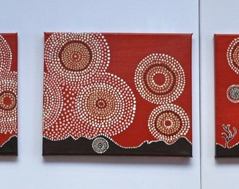 SOLD  Artemis / Diana Tribal Triptych Art Painting Acrylic on Mounted Canvas 26cm X 32cm X 3 piece Mythic Goddess