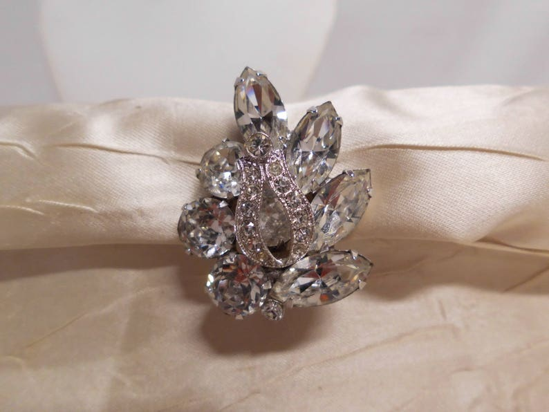Eisenberg Earrings Vintage 50/'s Sparkly Clear Rhinestones Large Marquis /& Round with Pave Stone Overlay Bridal Special Occasion High End
