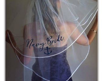 Personalized bachelorette hens party veil with glitter wording Navy/Nauti Bride