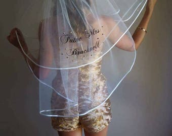 Personalized bachelorette hens party veil with glitter wording