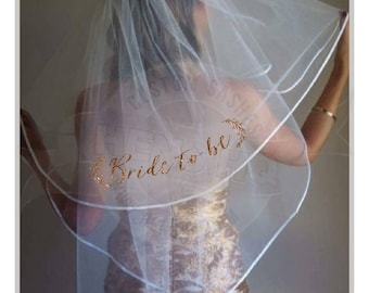 Floral Bride/bachelorette  hens party veil with glitter wording