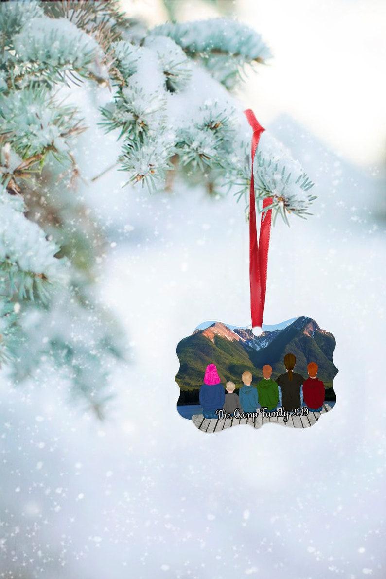 Beveled Edge mountain view Family Christmas Ornament Landscape Orientation Double Sided Aluminum Custom Printed