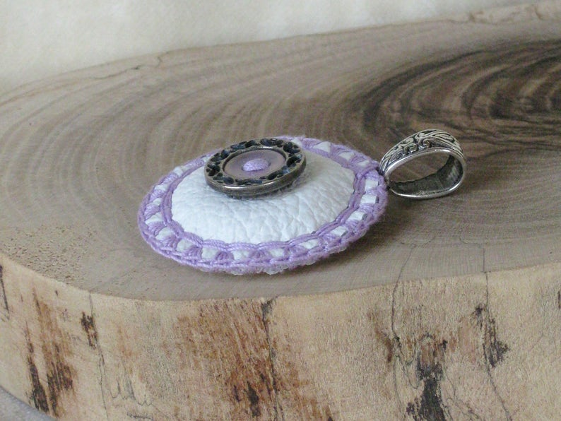 Round lilac textile Pendant 36mm  1 38in with filigree button cushioned white genuine Leather and lavender Cotton yarn decoration
