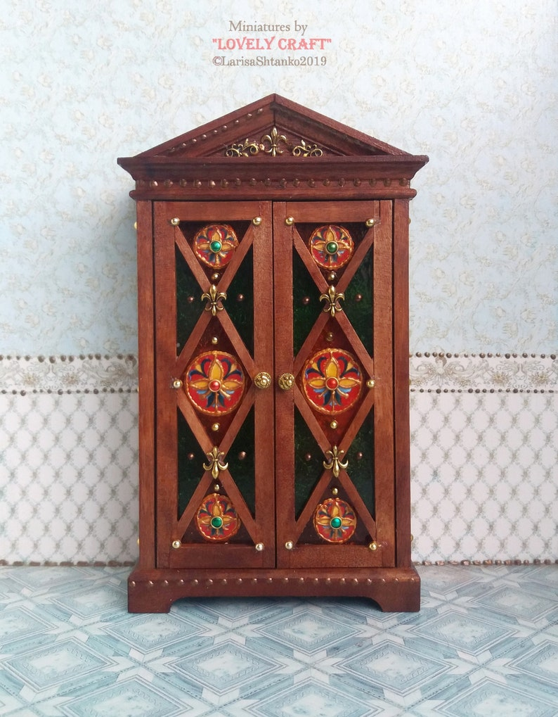 1:12 Scale. Design Handmade For doll House Wardrobe Imitation of a stained-glass window