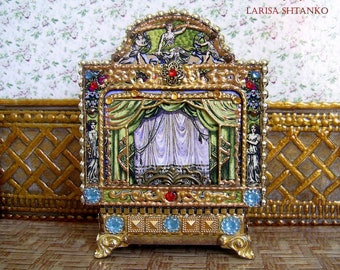 1:12 Scale. Puppet theater for Dollhouse. Dolls house miniature toy theatre. Paper theater. Handcrafted miniature. For doll House.