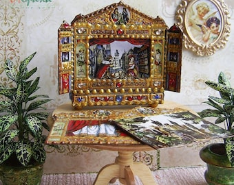 1:12 Scale. Dollhouse Miniatures ~ Puppet theater for Dollhouse. Theatre. Paper theater. Handcrafted miniature. For doll House.