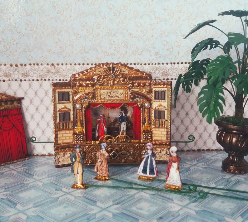 Puppet theater for Dollhouse For doll House Dolls house miniature toy theatre 1:12 Handcrafted miniature Paper theater