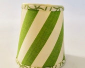 awning stripe lampshade, green and white lampshade, green and cream chandelier shade