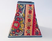 Square lampshade, colorful lampshade, navy and red lampshade, eclectic decor, bohemian decor