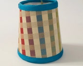 turquoise chandelier shade, plaid lampshade, eclectic chandelier shade, designer lampshade