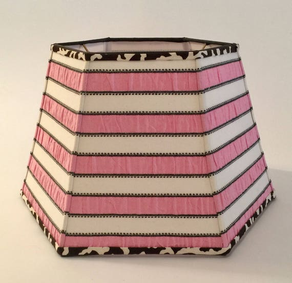 Pink And White Striped Lampshade, Pink And White Lamp Shades
