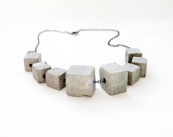 Multi-Block Concrete Necklace - Cement Jewelry
