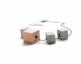 Wood and Concrete Block Necklace - Gray Cement Jewelry