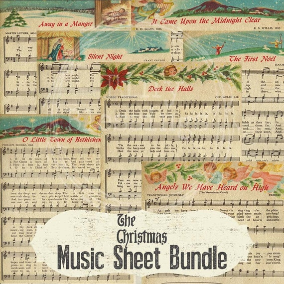 Christmas Music Sheets.Holiday Sheet Music Bundle Pack 8 Instant Digital Printable Download Gift Tag Sign Art Scrapbook Decoration