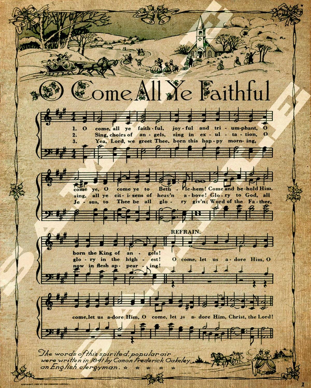 O Come All Ye Faithful Christmas Holiday Religious Sheet Music | Etsy