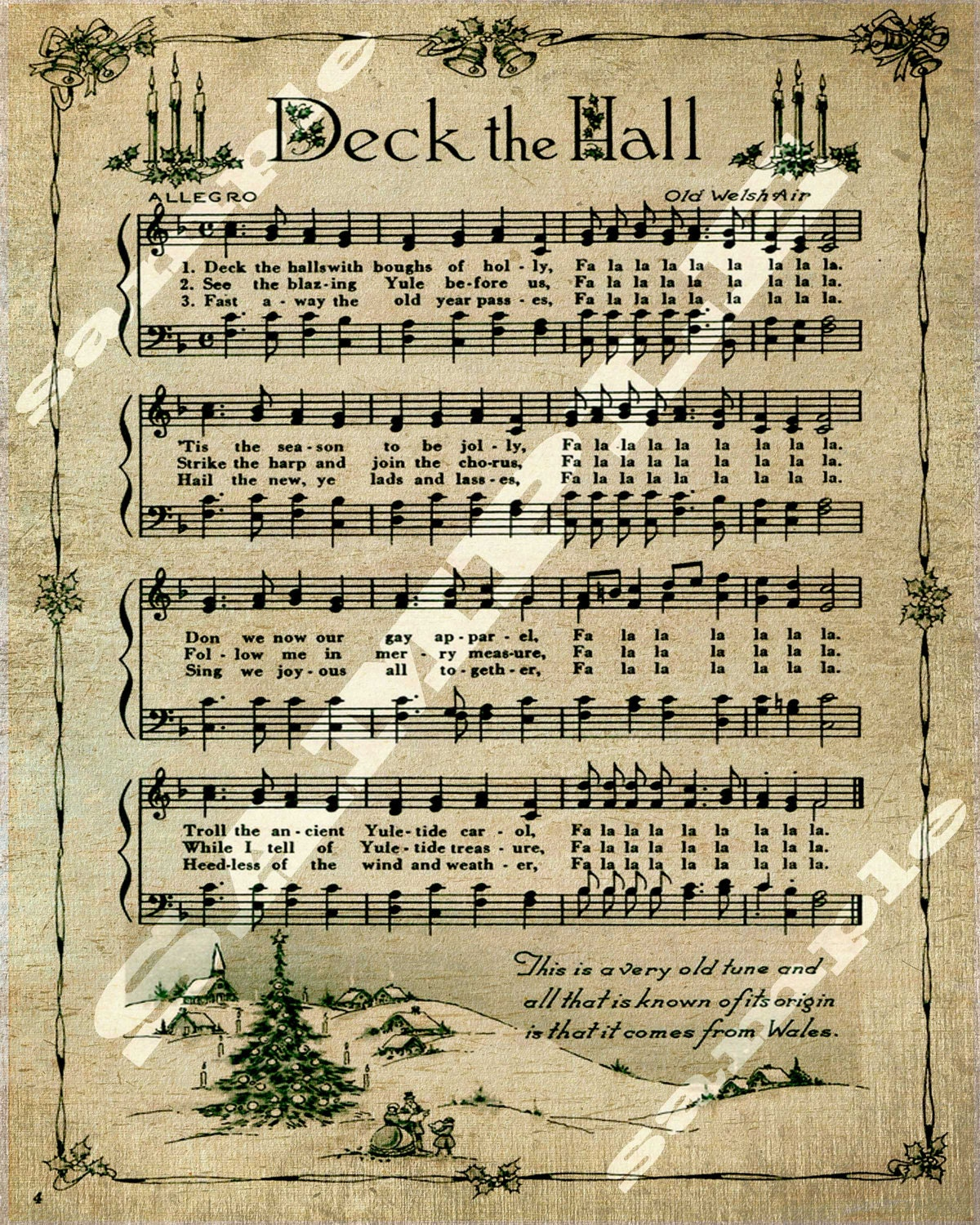 Deck The Hall Christmas Holiday Art Religious Sheet Music   Etsy