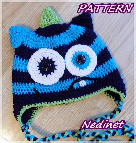 Crochet Pattern Monster Crochet Hat Pattern Crochet Hat Etsy