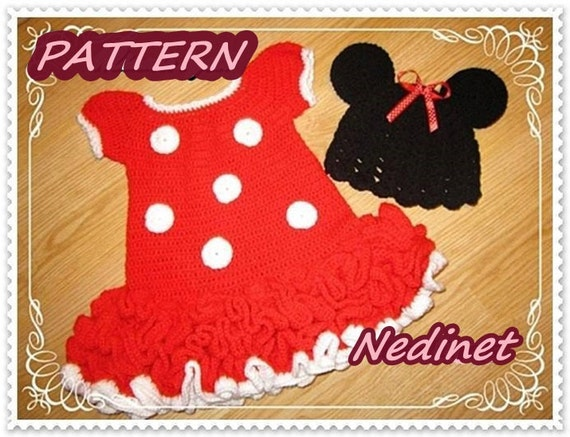 Crochet Baby Dress Pattern Minnie Mouse Dress And Hat Set Etsy