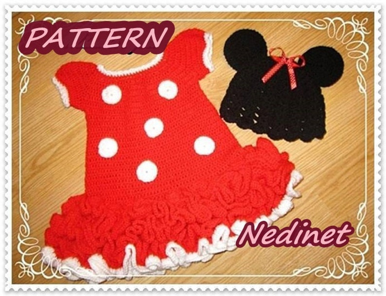 Minnie Mouse Dress and Hat Crochet Baby Dress Pattern Minnie Mouse Hat Minnie Mouse Inspired Costume Minnie Mouse Dress Minnie Ears