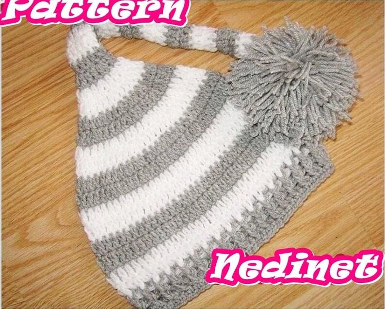 735cea253 Crochet Pattern, Elf Crochet Hat, Baby Boy Elf Hat, Newborn Elf Hat, Sleepy  Cap, Long Tail Hat, Child Elf Hat, Striped Elf Hat, Stocking Hat