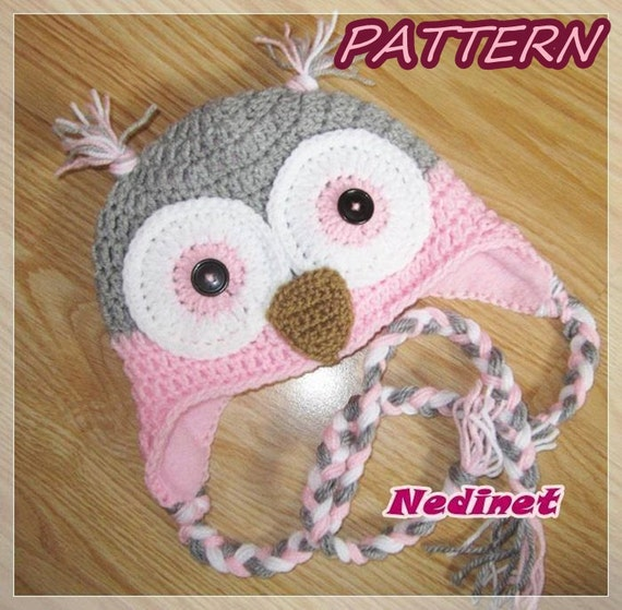 Crochet Pattern Owl Crochet Hat Pattern Owl Hat Pattern Girl