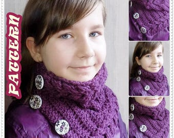 Crochet pattern, Crochet cowl scarf pattern, Cable stitch, Cowl scarf pattern, Child cowl scarf pattern, Woman  cowl scarf, PATTERN