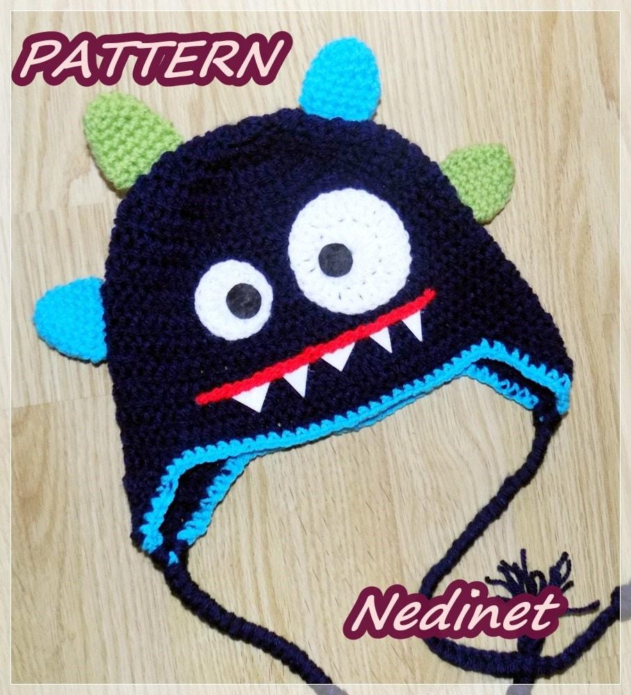 Monster Crochet Hat Pattern Crochetpattern Monster Hat Etsy
