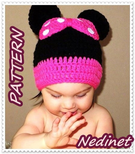 Minnie Mouse Crochet Hat Pattern, Minnie Ear, Crochet Baby Hat Pattern,  Minnie Mouse Hat
