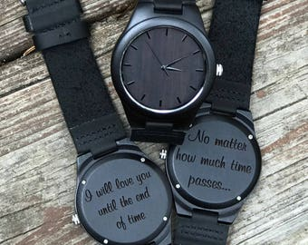Wood Watch, Personalized Black Wooden Watch, Groomsmen Gifts, Father's Day Gift, Custom Engraved Watch Anniversary, Wedding gift,Dad Gift