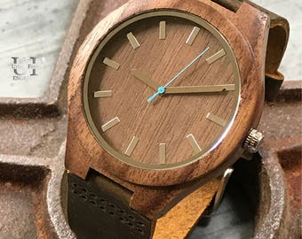 Personalized Wood Watch,Husband Gift, Fathers Day, Mens Gift for Boyfriend Gift, Leather Wooden Watches for Men Watch Wife To Husband Gift