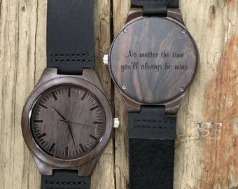Husband Anniversary Gift Mens Wood Watch Personalized Boyfriend Gifts Engraved Wooden 5 Year For Men Birthdays