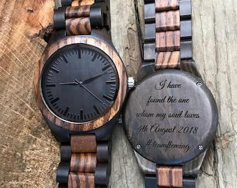 Anniversary Gifts For Men Boyfriend Gift Wife To Husband Gift Wooden Watch Mens Gift Personalized Gifts Brother Gift Engraved Watch Dad Gift