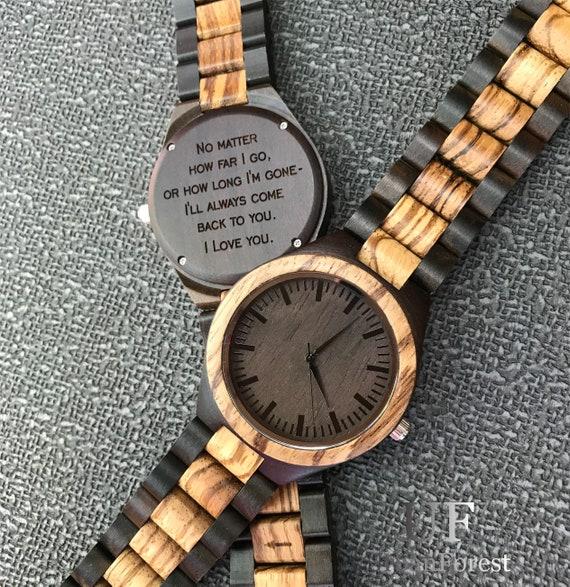 Personalisierte Uhr HolzuhrHerren HerrenuhrUhren Holz UhrVatertagGravierte Mann Für MännerHolzuhrenGeschenk trdhQCs