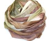10YD. WOODLAND Sari Silk Ribbon Bundle Journal Sari Silk Ribbon Bundles,Sari Tassels,Sari Wall Decor,Sari Dream Catcher Streamers