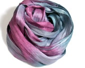 10YD ELECTRIC EEL Sari Silk Ribbon Ombré dyed Junk Journal Sari Silk Bundles, Sari Tassel, Sari Wall Decor, Sari Dream Catcher Streamers