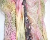 50YD. PINK LEMONADE Hand Dyed Mixed Media Fabric and Fiber Bundle Jewelry Weaving Boho Fiber Dream Catchers Inspired Wall Decor