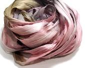 10YD. MAJESTIC Ombré Hand dyed Sari Silk Ribbon Junk Journal Silk Book Binding Multicolor Sari Wall Decor Ribbon Sari Dream Catcher Streamer