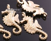 4pcs-29mmX12mm Matte Gold plated Brass Sea Horse charm, pendant for Jewelry Making (K460G)