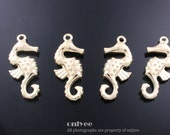 8pcs-32mmX15mmGold plated Zinc Alloy Double-sided Sea Horse charm, pendant(K521G)
