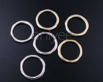 4 Pcs -21mm 14K Gold,  Rhodium Plated over Brass Circle,Hoop pendent,Connect (K309)