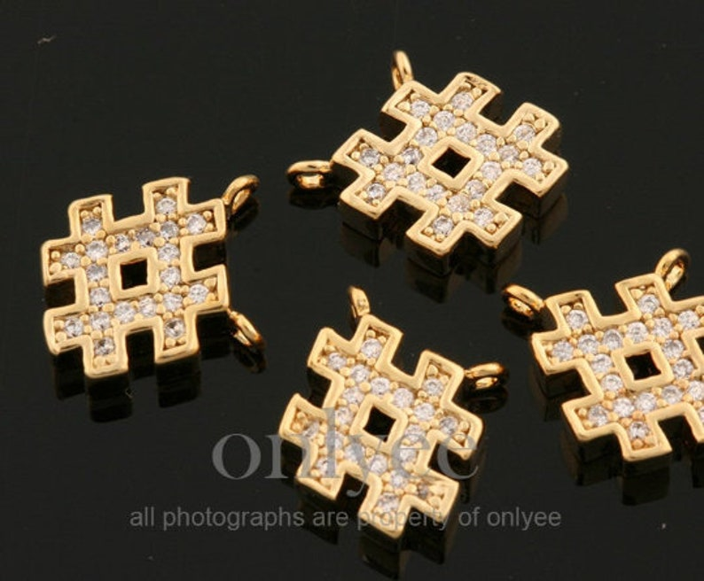 Jewerly Supply 2pcs-9mmX9mm Bright Rhodium Plated over Brass with Simple hashtag with cubic Charm pendant K1832S Connector