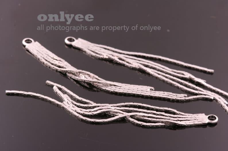 K812G necklace pendants dangles for earrings 10pcs-70mmX4mm Gold plated over Brass snake chain tassel charms