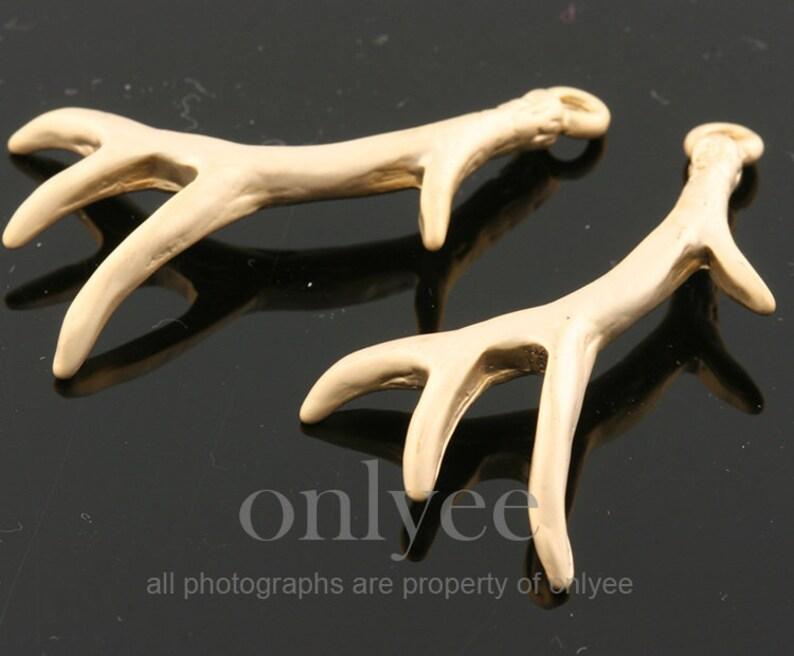 2pcs10pcs-36mmX22mm Matte Rhodium plated Brass Deer Antler Charm pendant Connenctor AA0078S